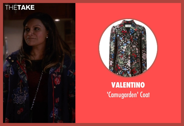 Valentino black coat from The Mindy Project seen with Mindy Lahiri (Mindy Kaling)