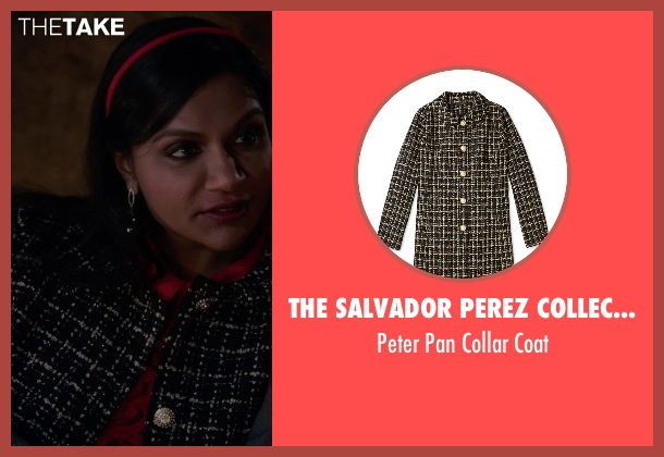 The Salvador Perez Collection black coat from The Mindy Project seen with Mindy Lahiri (Mindy Kaling)