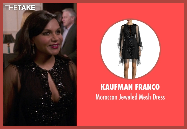 Kaufman Franco black dress from The Mindy Project seen with Mindy Lahiri (Mindy Kaling)
