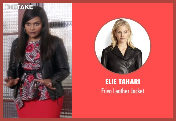 Elie Tahari black jacket from The Mindy Project seen with Mindy Lahiri (Mindy Kaling)