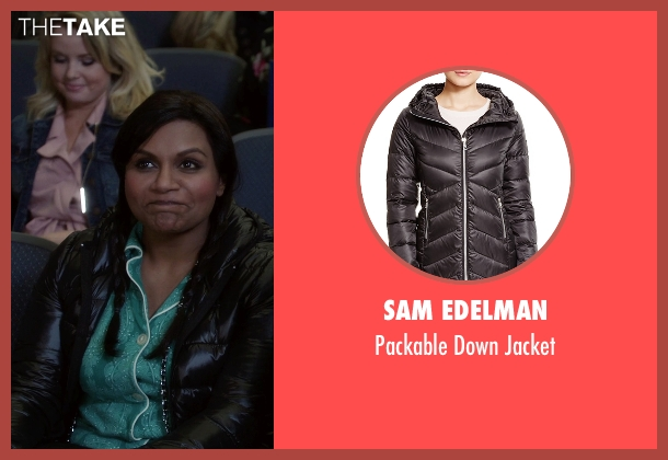 Sam Edelman black jacket from The Mindy Project seen with Mindy Lahiri (Mindy Kaling)