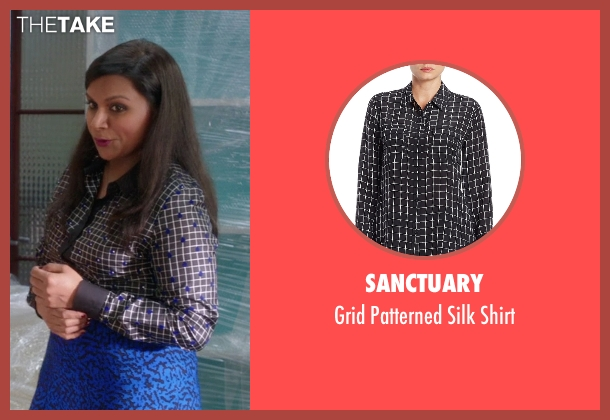 Sanctuary black shirt from The Mindy Project seen with Mindy Lahiri (Mindy Kaling)