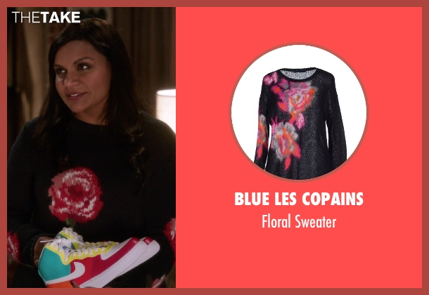 Blue Les Copains black sweater from The Mindy Project seen with Mindy Lahiri (Mindy Kaling)