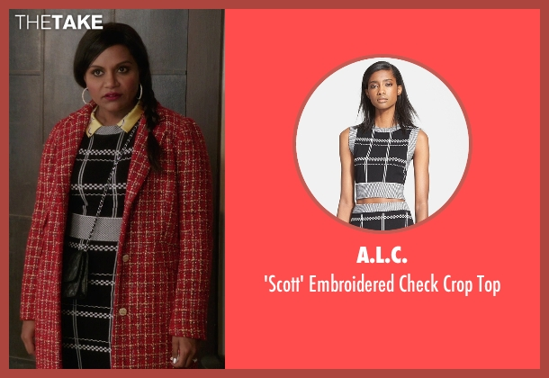A.L.C. black top from The Mindy Project seen with Mindy Lahiri (Mindy Kaling)