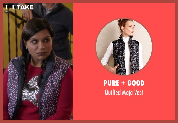 Pure + Good black vest from The Mindy Project seen with Mindy Lahiri (Mindy Kaling)