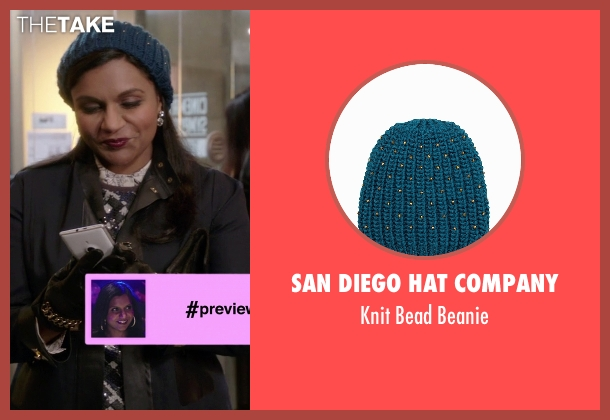 San Diego Hat Company blue beanie from The Mindy Project seen with Mindy Lahiri (Mindy Kaling)