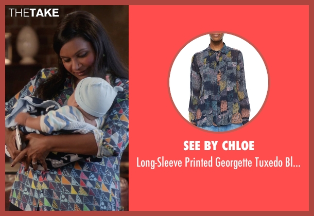 See by Chloe blue blouse from The Mindy Project seen with Mindy Lahiri (Mindy Kaling)