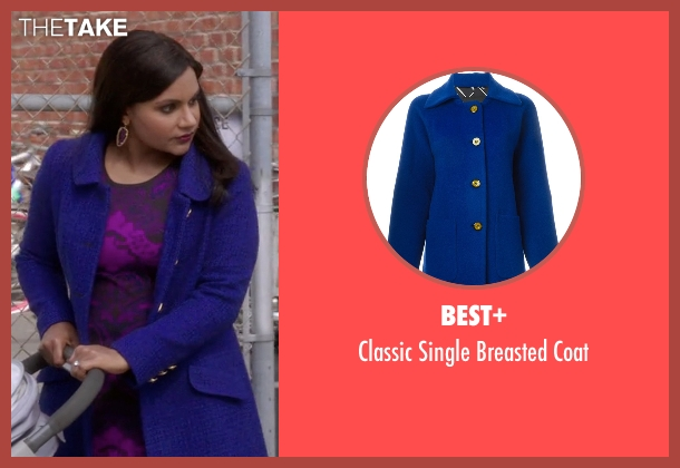 Best+ blue coat from The Mindy Project seen with Mindy Lahiri (Mindy Kaling)
