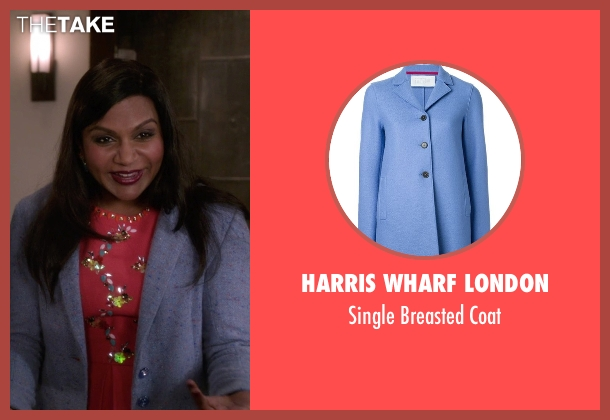 Harris Wharf London blue coat from The Mindy Project seen with Mindy Lahiri (Mindy Kaling)