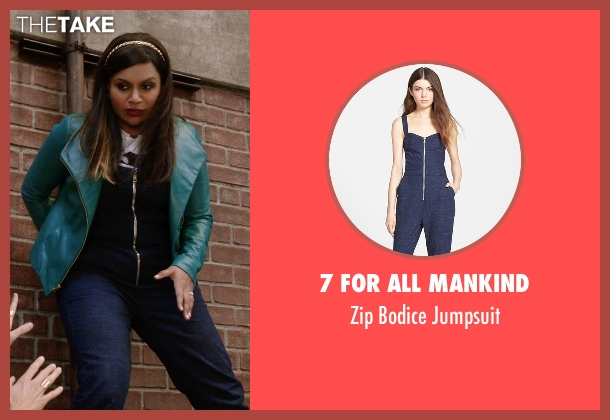 7 For All Mankind blue jumpsuit from The Mindy Project seen with Mindy Lahiri (Mindy Kaling)