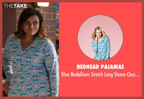 Bedhead Pajamas blue pajama from The Mindy Project seen with Mindy Lahiri (Mindy Kaling)