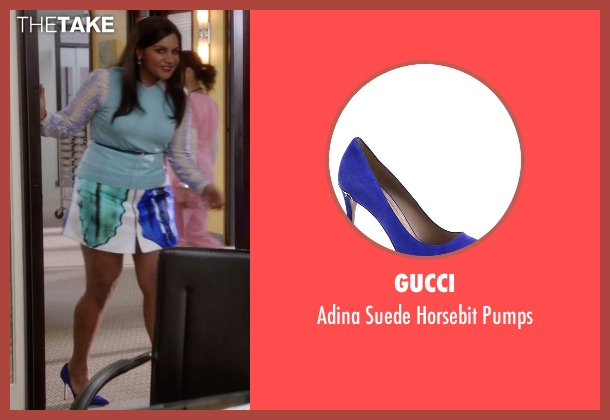 Gucci blue pumps from The Mindy Project seen with Mindy Lahiri (Mindy Kaling)