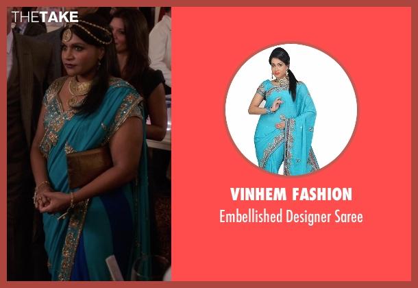 VinHem Fashion blue saree from The Mindy Project seen with Mindy Lahiri (Mindy Kaling)