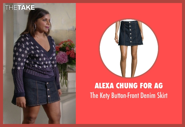 Alexa Chung for AG blue skirt from The Mindy Project seen with Mindy Lahiri (Mindy Kaling)