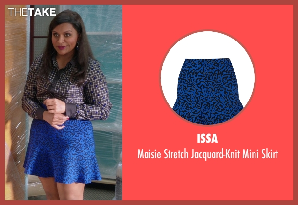Issa blue skirt from The Mindy Project seen with Mindy Lahiri (Mindy Kaling)