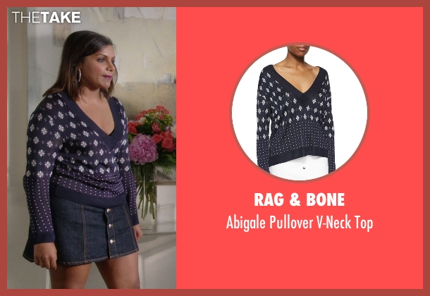 Rag & Bone blue top from The Mindy Project seen with Mindy Lahiri (Mindy Kaling)