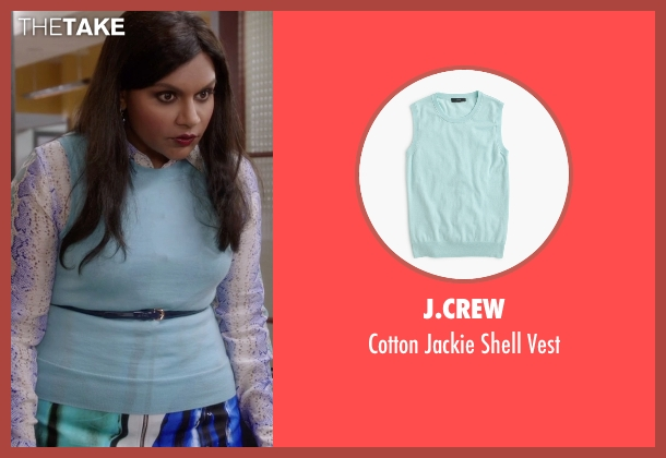 J.Crew blue vest from The Mindy Project seen with Mindy Lahiri (Mindy Kaling)