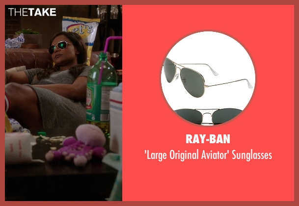 Ray-Ban gold sunglasses from The Mindy Project seen with Mindy Lahiri (Mindy Kaling)