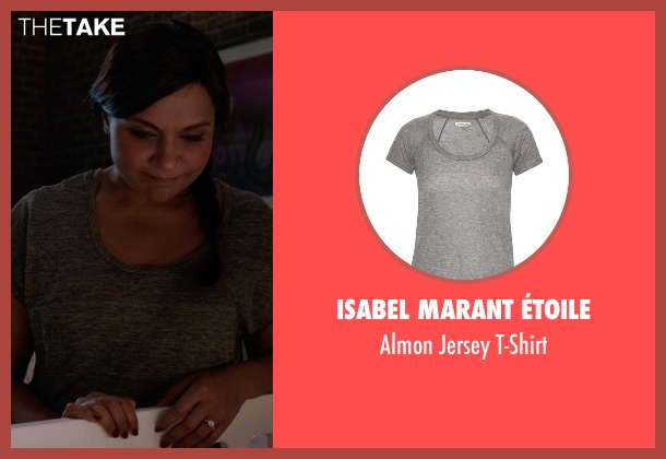Isabel Marant Étoile gray t-shirt from The Mindy Project seen with Mindy Lahiri (Mindy Kaling)