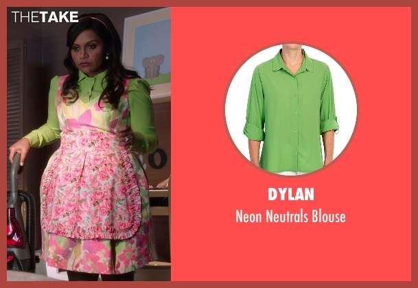 Dylan green blouse from The Mindy Project seen with Mindy Lahiri (Mindy Kaling)