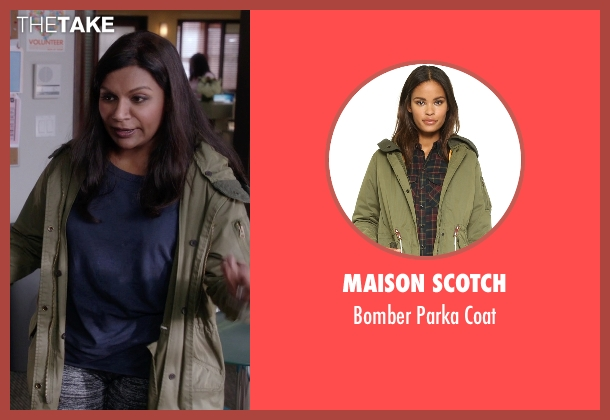 Maison Scotch green coat from The Mindy Project seen with Mindy Lahiri (Mindy Kaling)