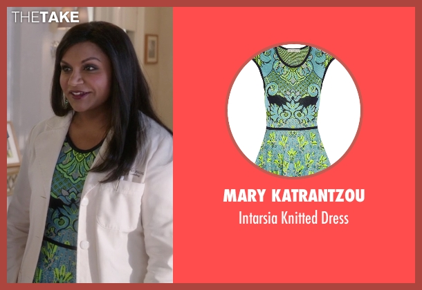 Mary Katrantzou green dress from The Mindy Project seen with Mindy Lahiri (Mindy Kaling)