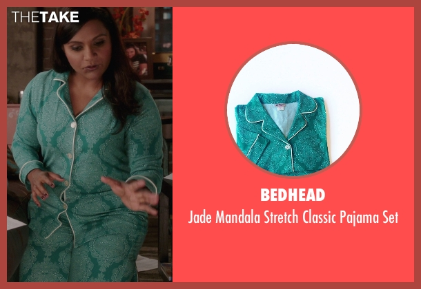Bedhead green set from The Mindy Project seen with Mindy Lahiri (Mindy Kaling)