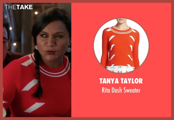 Tanya Taylor orange sweater from The Mindy Project seen with Mindy Lahiri (Mindy Kaling)