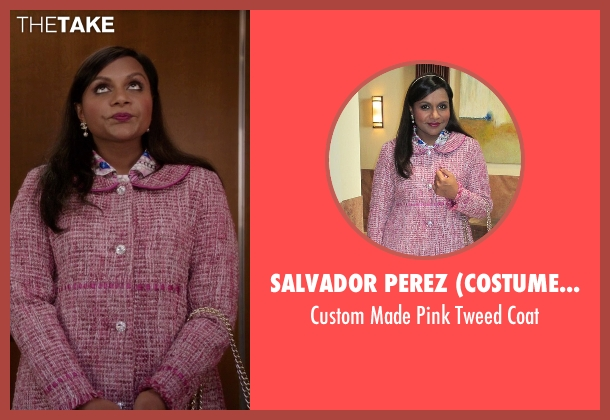 Salvador Perez (Costume Designer) pink coat from The Mindy Project seen with Mindy Lahiri (Mindy Kaling)