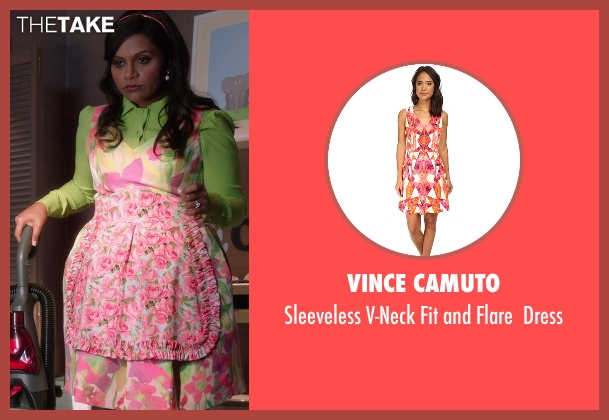 Vince Camuto pink dress from The Mindy Project seen with Mindy Lahiri (Mindy Kaling)