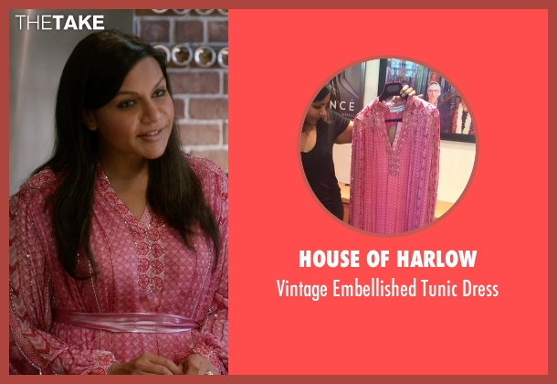 House of Harlow pink dress from The Mindy Project seen with Mindy Lahiri (Mindy Kaling)