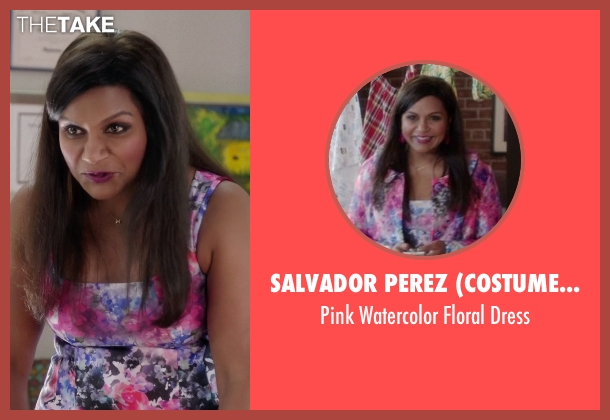 Salvador Perez (Costume Designer) pink dress from The Mindy Project seen with Mindy Lahiri (Mindy Kaling)