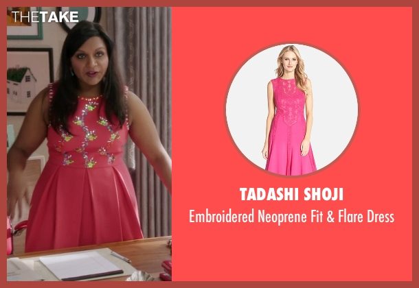 Tadashi Shoji pink dress from The Mindy Project seen with Mindy Lahiri (Mindy Kaling)