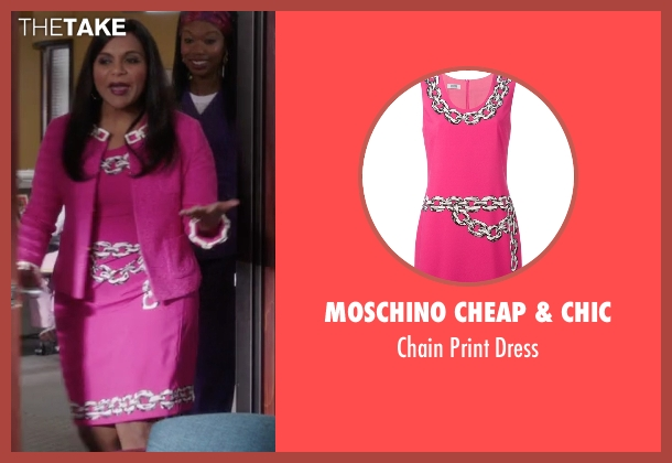 Moschino Cheap & Chic pink dress from The Mindy Project seen with Mindy Lahiri (Mindy Kaling)