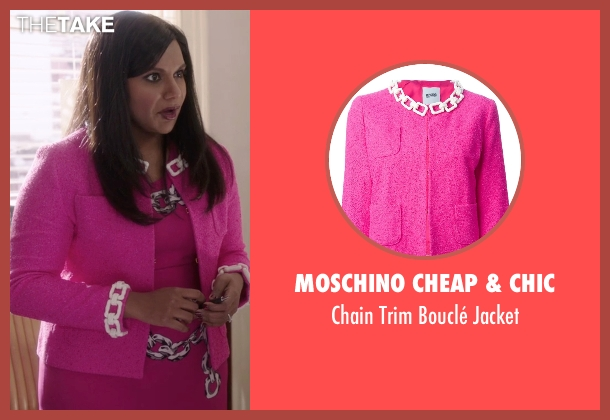 Moschino Cheap & Chic pink jacket from The Mindy Project seen with Mindy Lahiri (Mindy Kaling)