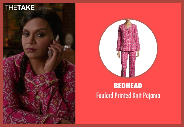 Bedhead pink pajama from The Mindy Project seen with Mindy Lahiri (Mindy Kaling)