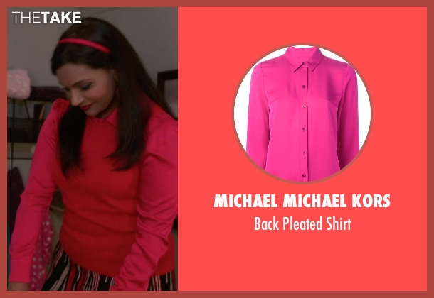 MICHAEL Michael Kors pink shirt from The Mindy Project seen with Mindy Lahiri (Mindy Kaling)