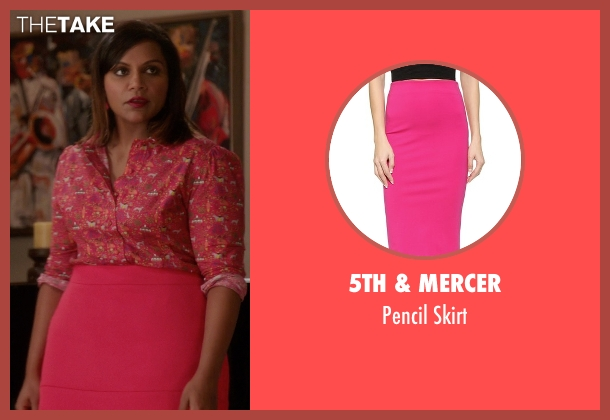 5th & Mercer pink skirt from The Mindy Project seen with Mindy Lahiri (Mindy Kaling)
