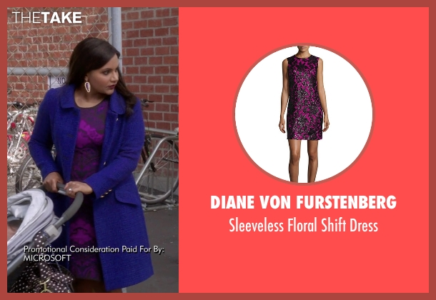 Diane Von Furstenberg purple dress from The Mindy Project seen with Mindy Lahiri (Mindy Kaling)