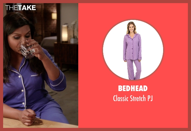 BedHead purple pj from The Mindy Project seen with Mindy Lahiri (Mindy Kaling)