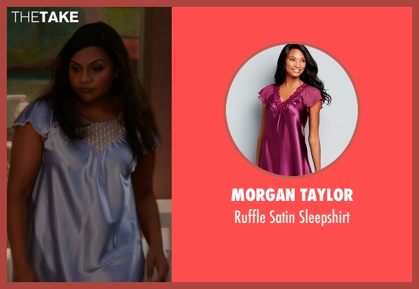 Morgan Taylor purple sleepshirt from The Mindy Project seen with Mindy Lahiri (Mindy Kaling)