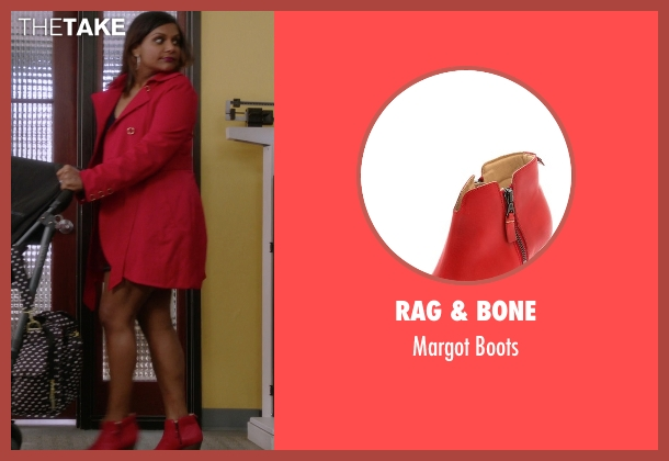 Rag & Bone red boots from The Mindy Project seen with Mindy Lahiri (Mindy Kaling)