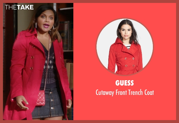 Guess red coat from The Mindy Project seen with Mindy Lahiri (Mindy Kaling)