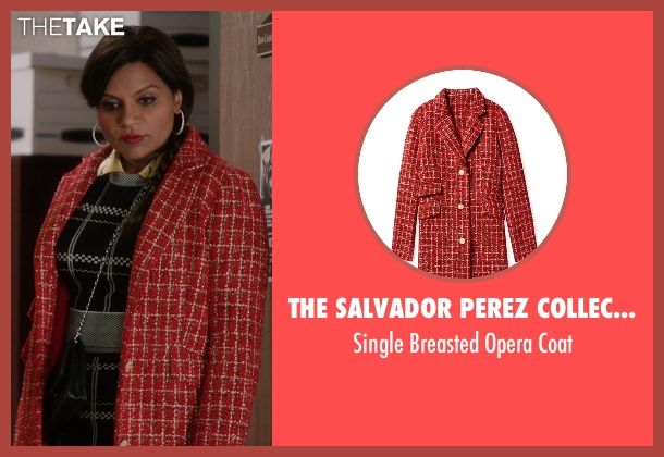The Salvador Perez Collection red coat from The Mindy Project seen with Mindy Lahiri (Mindy Kaling)