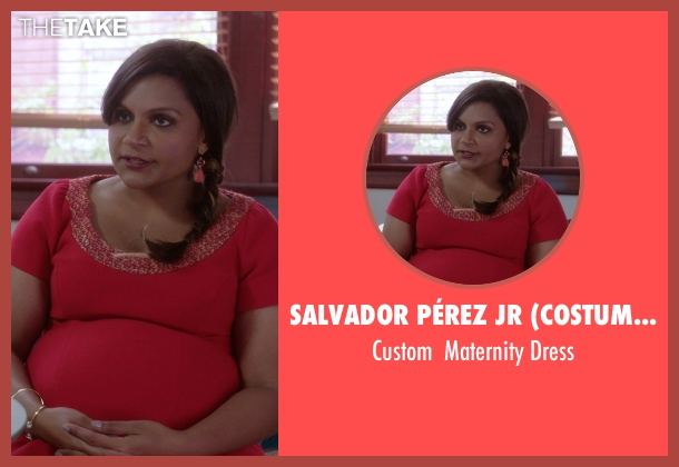 Salvador Pérez Jr (Costume Designer) red dress from The Mindy Project seen with Mindy Lahiri (Mindy Kaling)