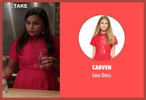 Carven red dress from The Mindy Project seen with Mindy Lahiri (Mindy Kaling)