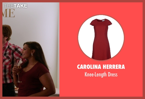 Carolina Herrera red dress from The Mindy Project seen with Mindy Lahiri (Mindy Kaling)