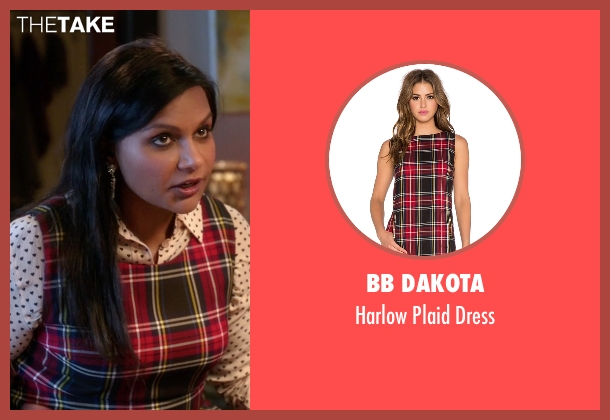 BB Dakota red dress from The Mindy Project seen with Mindy Lahiri (Mindy Kaling)