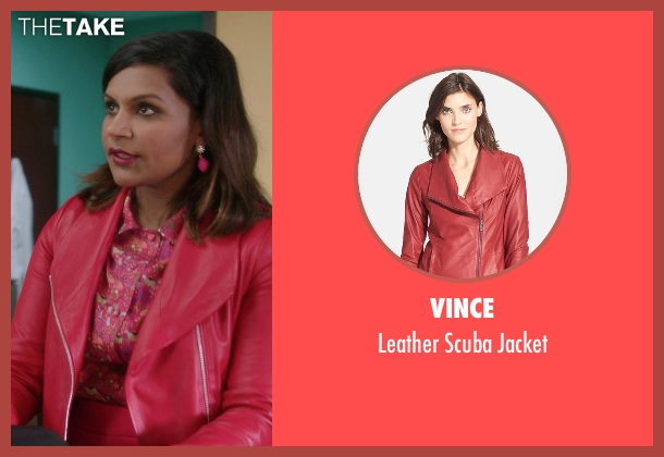 Vince red jacket from The Mindy Project seen with Mindy Lahiri (Mindy Kaling)