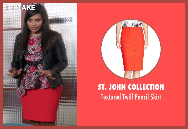 St. John Collection red skirt from The Mindy Project seen with Mindy Lahiri (Mindy Kaling)